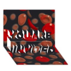 Blood Cells You Are Invited 3d Greeting Card (7x5)