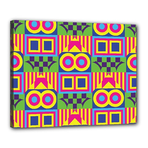 Colorful Shapes In Rhombus Pattern Canvas 20  X 16  (stretched)