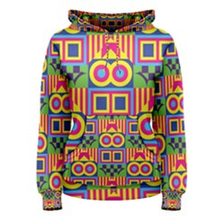 Colorful shapes in rhombus pattern Women s Pullover Hoodie
