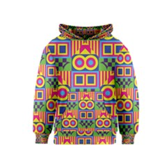 Colorful Shapes In Rhombus Pattern Kid s Pullover Hoodie