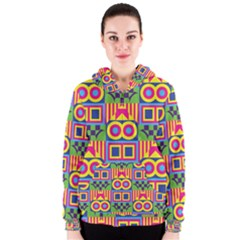 Colorful shapes in rhombus pattern Women s Zipper Hoodie