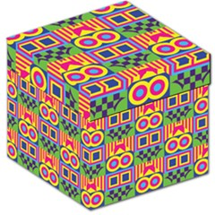 Colorful Shapes In Rhombus Pattern Storage Stool