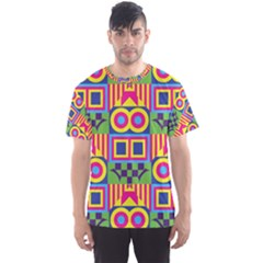 Colorful shapes in rhombus pattern Men s Sport Mesh Tee