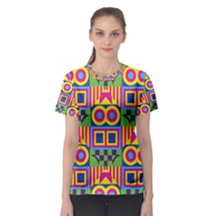 Colorful shapes in rhombus pattern Women s Sport Mesh Tee