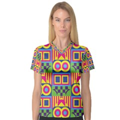 Colorful shapes in rhombus pattern Women s V-Neck Sport Mesh Tee