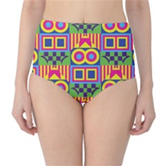 Colorful Shapes In Rhombus Pattern High Waist Bikini Bottoms