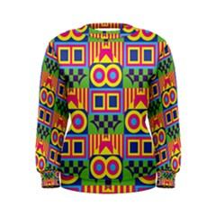 Colorful Shapes In Rhombus Pattern  Women s Sweatshirt