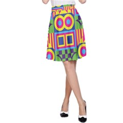 Colorful shapes in rhombus pattern A-line Skirt