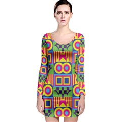 Colorful Shapes In Rhombus Pattern Long Sleeve Bodycon Dress