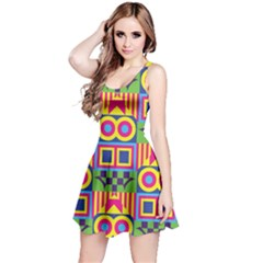Colorful shapes in rhombus pattern Sleeveless Dress