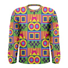 Colorful shapes in rhombus pattern Men Long Sleeve T-shirt