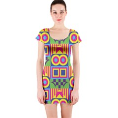 Colorful Shapes In Rhombus Pattern Short Sleeve Bodycon Dress