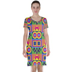 Colorful shapes in rhombus pattern Short Sleeve Nightdress