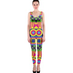 Colorful Shapes In Rhombus Pattern Onepiece Catsuit