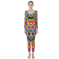Colorful Shapes In Rhombus Pattern  Long Sleeve Catsuit