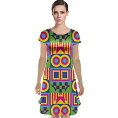 Colorful shapes in rhombus pattern Cap Sleeve Nightdress