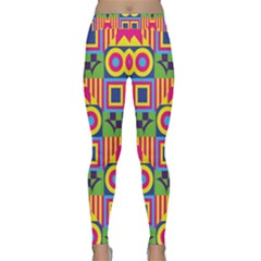 Colorful Shapes In Rhombus Pattern Yoga Leggings