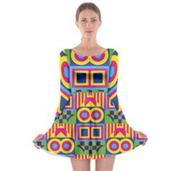 Colorful shapes in rhombus pattern Long Sleeve Skater Dress