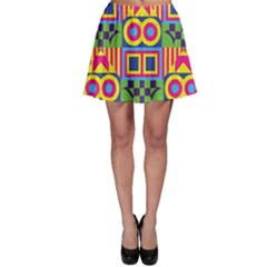 Colorful shapes in rhombus pattern Skater Skirt