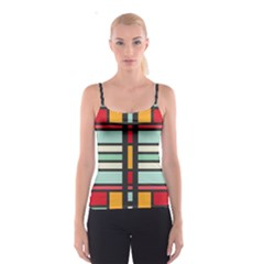 Mirrored Rectangles In Retro Colors Spaghetti Strap Top