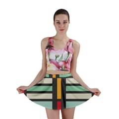 Mirrored Rectangles In Retro Colors Mini Skirt