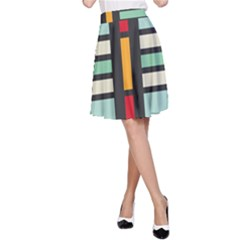 Mirrored rectangles in retro colors A-line Skirt