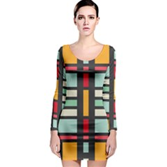 Mirrored rectangles in retro colors Long Sleeve Bodycon Dress