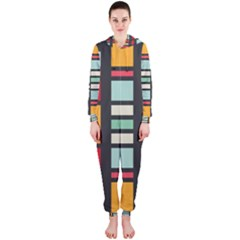 Mirrored rectangles in retro colors Hooded OnePiece Jumpsuit