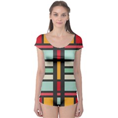 Mirrored rectangles in retro colors Short Sleeve Leotard