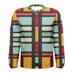 Mirrored Rectangles In Retro Colors Men Long Sleeve T Shirt
