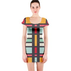 Mirrored rectangles in retro colors Short sleeve Bodycon dress