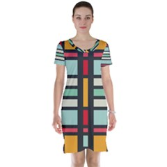Mirrored Rectangles In Retro Colors Short Sleeve Nightdress