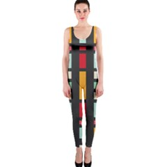 Mirrored rectangles in retro colors OnePiece Catsuit