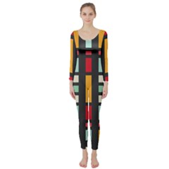 Mirrored rectangles in retro colors  Long Sleeve Catsuit