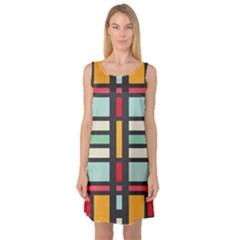 Mirrored rectangles in retro colors Sleeveless Satin Nightdress