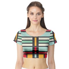 Mirrored rectangles in retro colors Short Sleeve Crop Top