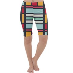 Mirrored Rectangles In Retro Colors Cropped Leggings