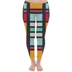 Mirrored Rectangles In Retro Colors Winter Leggings