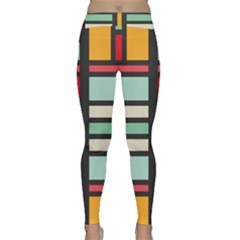 Mirrored rectangles in retro colors Yoga Leggings