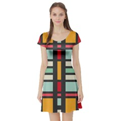 Mirrored Rectangles In Retro Colors Short Sleeve Skater Dress