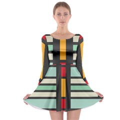 Mirrored rectangles in retro colors Long Sleeve Skater Dress