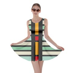 Mirrored Rectangles In Retro Colors Skater Dress