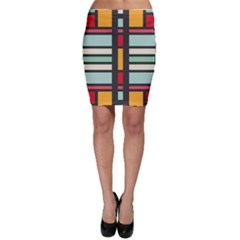 Mirrored rectangles in retro colors Bodycon Skirt