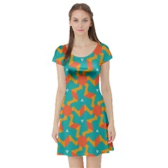 Sun Pattern Short Sleeve Skater Dress