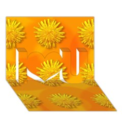 Dandelion Pattern I Love You 3d Greeting Card (7x5)