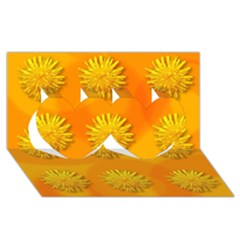 Dandelion Pattern Twin Hearts 3d Greeting Card (8x4)