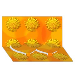 Dandelion Pattern Twin Heart Bottom 3d Greeting Card (8x4)