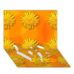 Dandelion Pattern LOVE Bottom 3D Greeting Card (7x5)