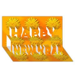 Dandelion Pattern Happy New Year 3d Greeting Card (8x4)
