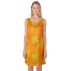 Dandelion Pattern Sleeveless Satin Nightdresses
